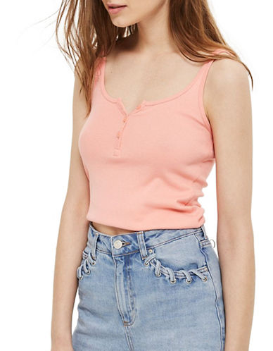Topshop PETITE Button Front Tank Top-CORAL-UK 4/US 0