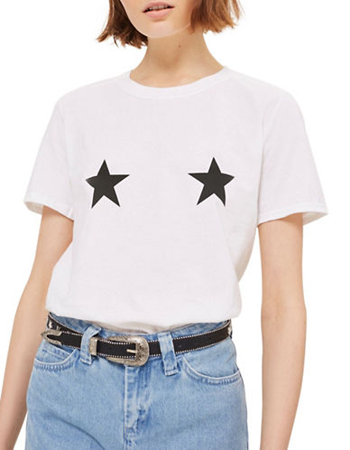 Topshop Star Placement Tee-WHITE-Medium