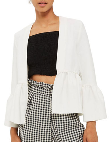 Topshop TALL Cropped Frill Jacket-WHITE-UK 16/US 12