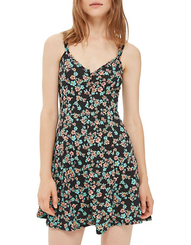 Topshop Spot and Floral Print Swing Dress-BLACK-UK 8/US 4