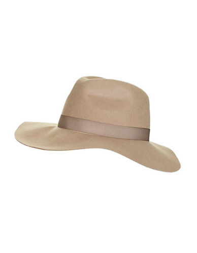 Topshop Wool Fedora Hat-CAMEL-One Size