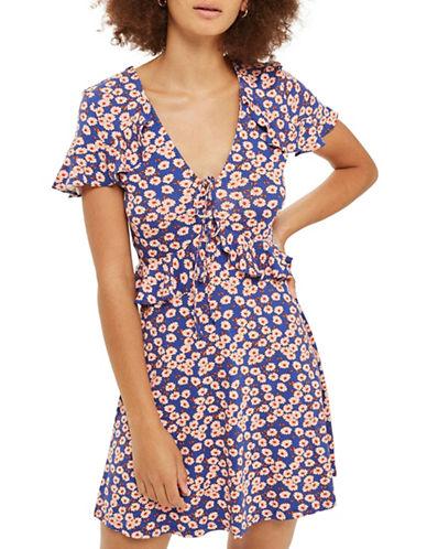 Topshop Daisy Frill Tea Dress-BLUE-UK 8/US 4