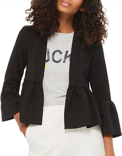 Topshop Bella Cropped Jacket-BLACK-UK 12/US 8