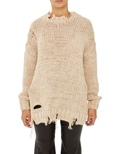 Topshop Laddered Knitted Sweater by Boutique-CAMEL-UK 14/US 10