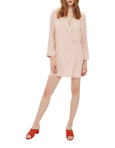 Topshop Bow-Back Blazer Dress-NUDE-UK 10/US 6