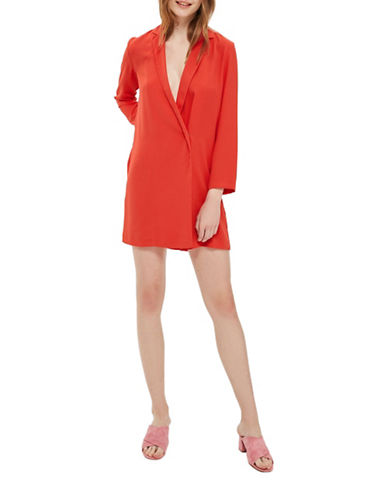 Topshop Bow-Back Blazer Dress-CORAL-UK 12/US 8