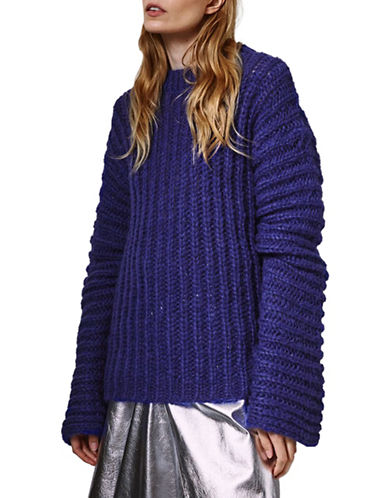 Topshop Wool-Blend Knitted Sweater by Boutique-PURPLE-UK 8/US 4