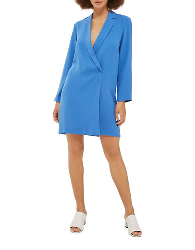 Topshop Bow-Back Blazer Dress-BLUE-UK 12/US 8