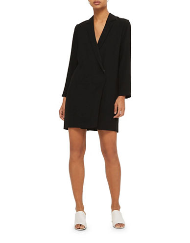 Topshop Bow-Back Blazer Dress-BLACK-UK 10/US 6