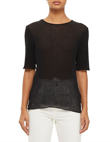 Topshop Crinkle T-Shirt by Boutique-BLACK-UK 10/US 6