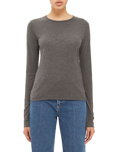 Topshop Long-Sleeved Top by Boutique-CHARCOAL-UK 6/US 2