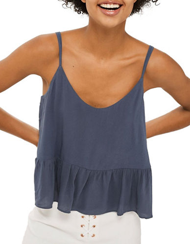 Topshop Relaxed Peplum Cami-GREY-UK 6/US 2