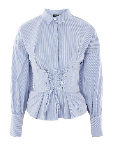 Topshop Stripe Corset Shirt-BLUE-UK 10/US 6