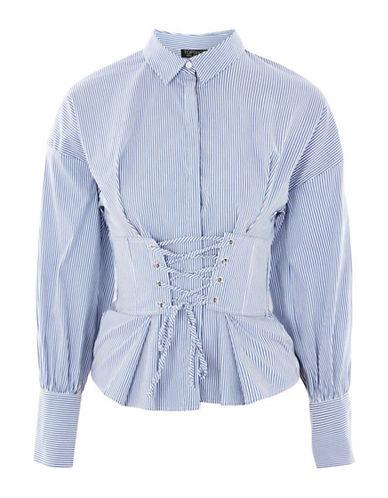 Topshop Stripe Corset Shirt-BLUE-UK 12/US 8