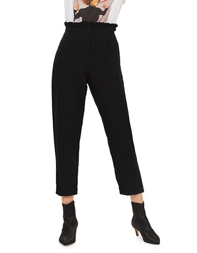 Topshop Ruffled Trousers-BLACK-UK 8/US 4