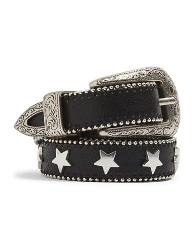 Topshop Star Stud Skinny Belt-BLACK-Medium