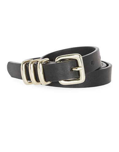 Topshop Skinny Faux Leather Belt-BLACK-Medium