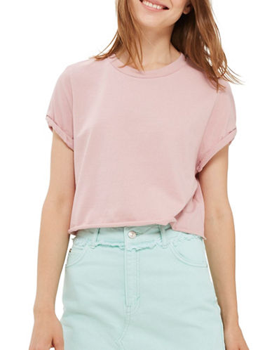 Topshop Roll Crop T-Shirt-DUSTY PINK-UK 14/US 10