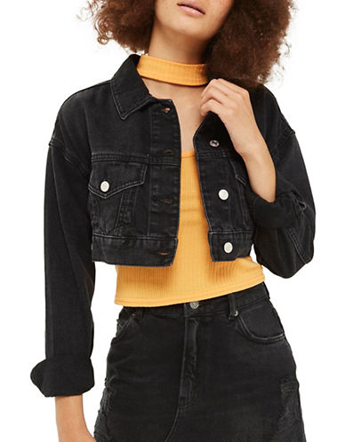 Topshop MOTO Cropped Denim Jacket-WASHED BLACK-UK 10/US 6