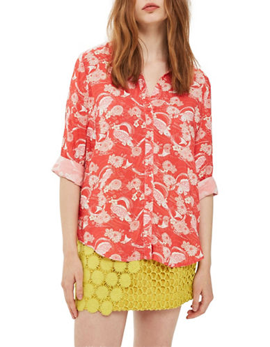 Topshop Flying Fish Button-Up Shirt-RED-UK 12/US 8