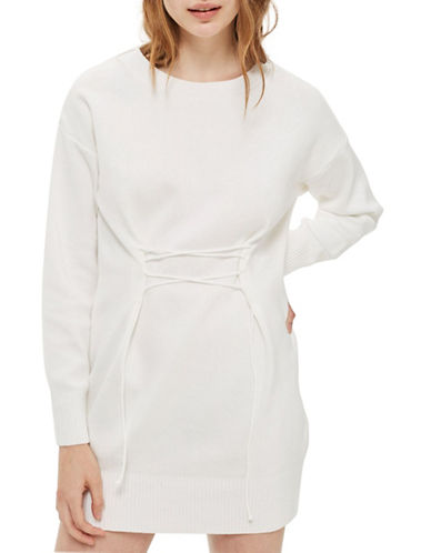 Topshop Corset Knitted Dress-IVORY-UK 12/US 8