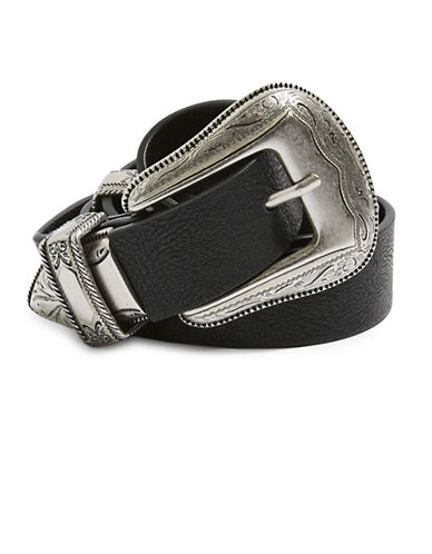 Topshop Billy Double Buckle Belt-BLACK-Medium