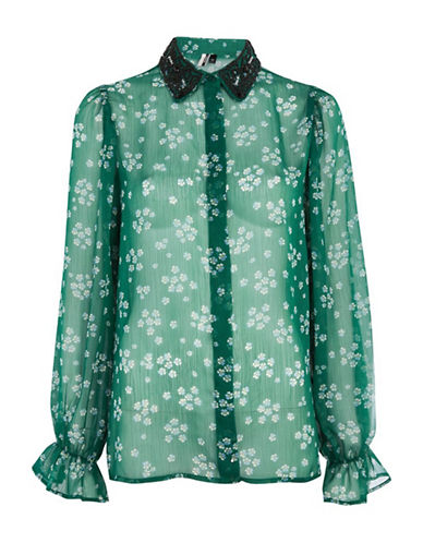 Topshop Beaded Sheer Collar Shirt-GREEN-UK 14/US 10