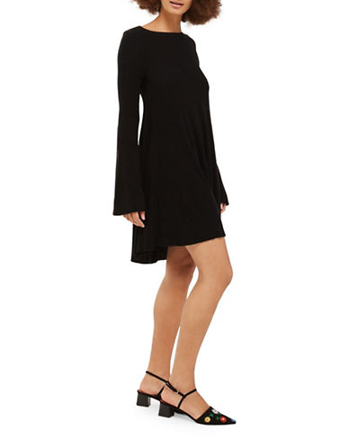 Topshop Fluted Sleeve Knitted Dress-BLACK-UK 6/US 2