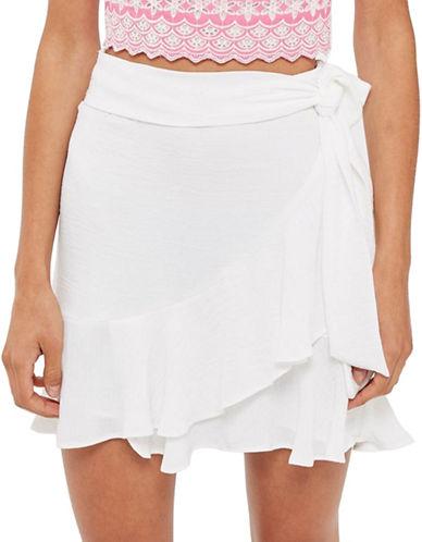 Topshop Ruffle Tie Mini Skirt-WHITE-UK 10/US 6