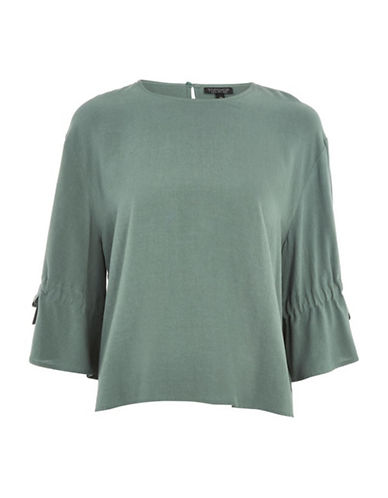 Topshop Molly Tie-Sleeved Linen-Blend Blouse-PETROL-UK 12/US 8