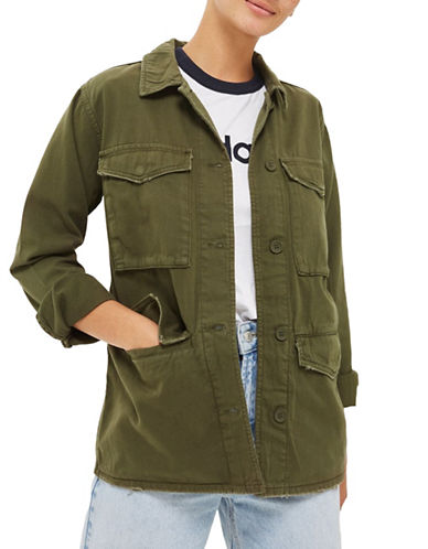Topshop Ethan Cotton Jacket-KHAKI/OLIVE-UK 14/US 10
