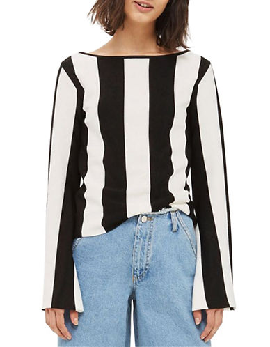 Topshop Stripe Flare-Sleeved Top-MONOCHROME-UK 14/US 10