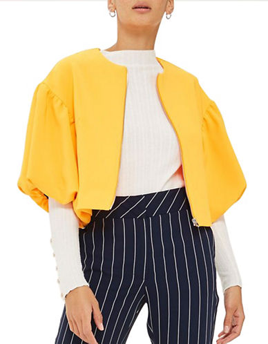 Topshop Puff Sleeve Crop Jacket-ORANGE-UK 8/US 4