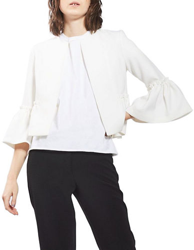 Topshop Puff Sleeved Cropped Blazer-IVORY-UK 12/US 8