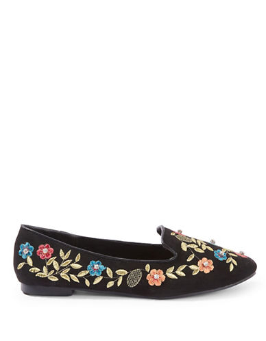 Topshop Sweetie Embroidered Flats-BLACK-EU 36/US 5.5