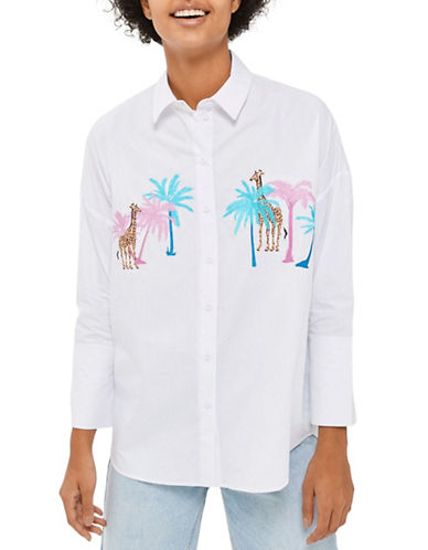 Topshop Palm Giraffe Button-Up Shirt-WHITE-UK 6/US 2