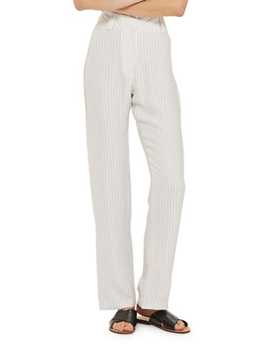 Topshop Frayed Seam Stripe Slouch Trousers-IVORY-UK 10/US 6