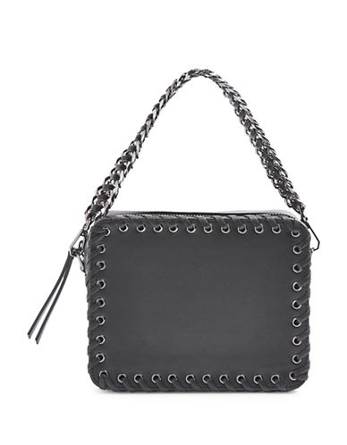 Topshop Rogue Whipstitch Crossbody Bag-BLACK-One Size