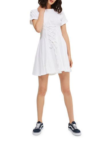 Topshop Corset Flippy Tunic Dress-WHITE-UK 10/US 6
