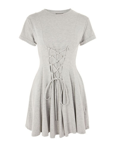 Topshop Corset Flippy Tunic Dress-GREY MARL-UK 8/US 4
