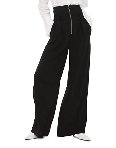 Topshop High-Rise Wide-Leg Trousers-BLACK-UK 6/US 2