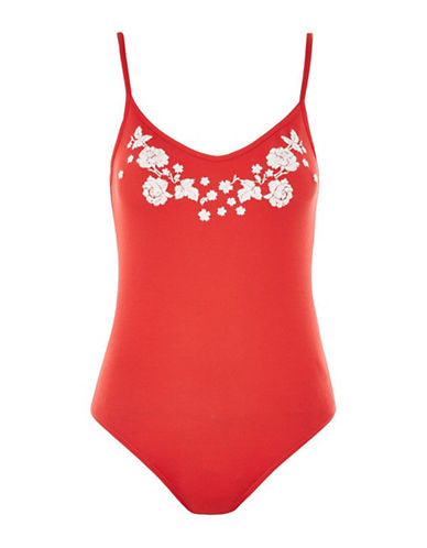 Topshop Embroidered Bodysuit-RED-UK 12/US 8