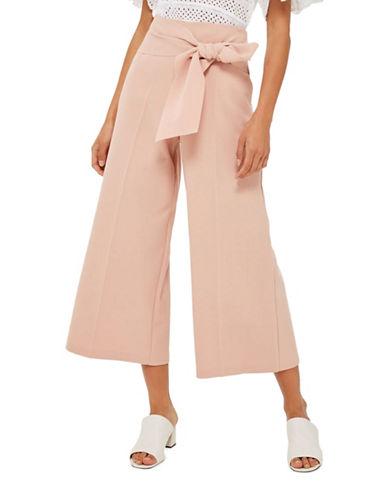 Topshop Tie Crop Wide-Leg Trousers-NUDE-UK 14/US 10