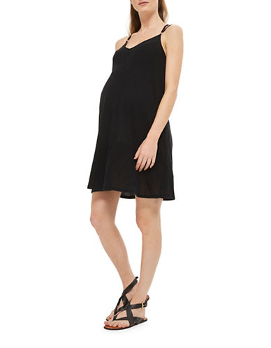 Topshop MATERNITY Ribbed Swing Dress-BLACK-UK 12/US 8