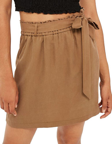 Topshop Paperbag Tie Mini Skirt-BROWN-UK 8/US 4