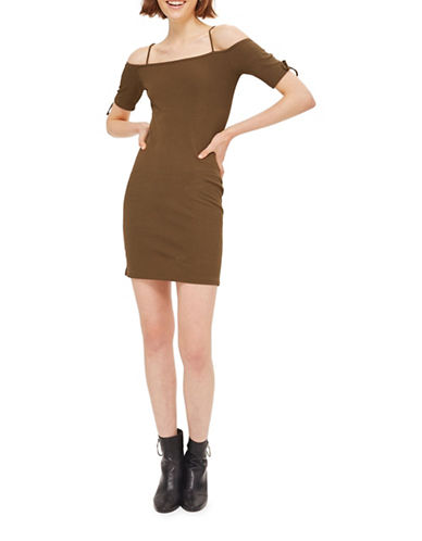Topshop Lace-Sleeve Bodycon Dress-KHAKI-UK 12/US 8