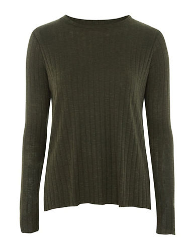 Topshop Cut-and-Sew Top-KHAKI-UK 12/US 8