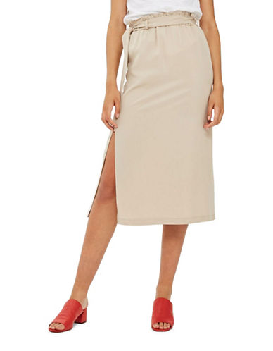 Topshop Paper Bag Midi Skirt-STONE-UK 14/US 10