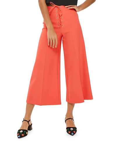Topshop Crop Wide Leg Trousers-CORAL-UK 8/US 4