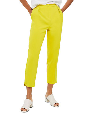 Topshop Split Hem Peg Trousers-LIME-UK 10/US 6